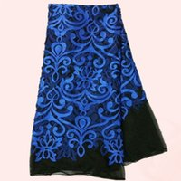 lace material - New fashion African black net lace fabric with royal blue embroidery fashion French lace material for dress LNL22