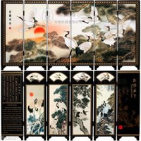 Wholesale Chinese Handmade Vintage Pine Crane Wooden Lacquer Six Pieces Folding Screen