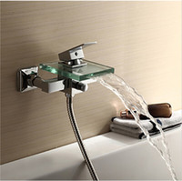 Wholesale Contemporary Tub Faucet with waterfall Spout Wall Mount chrome bathtub faucet C3206