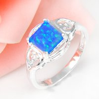 Cheap 5pcs lot Classic Blue Fire Opal Gemstone 925 Sterling Silver Wedding Ring Jewelry Gift