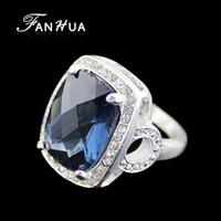 Wholesale Geometric Big Blue Square Imitation Sapphire Created Gemstone Rings Vintage For Women Fashion Design Jewelry