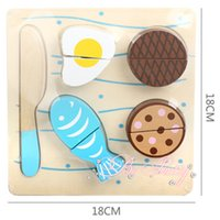 Wholesale 1 piece Pretend play kitchen toys Wooden cutting Fruit And Vegetables kitchen food Gift For Children Puzzles