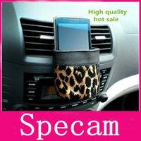 upholstery leather - Mobile phone holder black car leather upholstery car leopard outlet sundries bag cell phone bottles glasses pocket glove