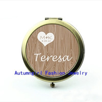 antique wood mirrors - New Arrival Photo Mirror Wood Grain Heart Pocket Mirror Antique Pocket Mirrors Metal Pocket Mirror
