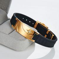 Vente en gros Noproblem MND008 en acier inoxydable négatif ion élastique de la mode des bandes de caoutchouc nobles de puissance de santé bracelet de luxe