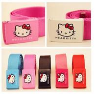 Wholesale Girls Hello Kitty Belt Kids Hello Kitty Canvas Strap Cartoon Girl Straps Children Elastic Belts Automatic Buckle Styles
