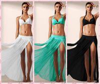Cheap 5 Colors Women Summer 2016 Swimwear White Elegant Mesh Maxi Skirt Cool Beachwear Kaftan Cover Ups bathing suit 41168