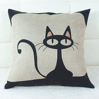 Wholesale Vintage Style Cat Patterns Cotton Linen Pillow Case Sofa Throw Cushion Cover Square Home Bed Decor