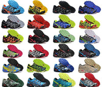 Wholesale Men s Salomons Speedcross Outlet Mens Hiking Running Shoes Barefoot Solomons Sports Shoes Zapatillas Newest Style Pure Black Colorways