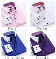 100% cotton men dress shirts - Trade new men s Spring and Autumn double collar shirt men shirt business career shirt big yards
