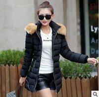 Wholesale Hot Fashion Women Clothes Winter Coat Raccoon Fur Collar Warm Coats Woman Long Outerwear Thicken Parkas Down Jacket For Women