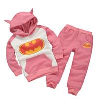 applique fleece - Pink Batman Girls Clothes Sets Winter Fleece Hooded Jacket Coats Trousers Suit Children Tracksuit Outfits Hot Sale