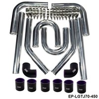 Wholesale Universal quot mm Aluminum Turbo Intercooler Piping Kit Pipes Clamp Coupler Universal Length mm EP LGTJ70