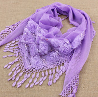 sequin scarves - 2015 spring new triangle tassel scarf chiffon lace flower sequins tassel scarf shawl colors