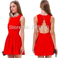 Night Out & Club Sleeveless Above Knee/ Mini Plus size S-XL red casual dress 2015 summer spring sleeveless solid color slim waist bacless women dress office work tank dress