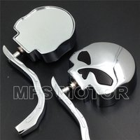 Wholesale Motorcycle Rear View Mirrors For Harley Dyna Softail Sportster Bobber Chopper Skull Flame Chrome Side Mirrors