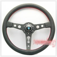 Wholesale Textured Real Leather Na r di quot MM Racing Steering Wheel w BK Alloy Spoke