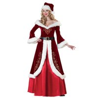 Wholesale 2015 Red Christmas Girl Dress Santa Claus Cosplay Party Long sleeved Cloak Cosplay Women Dresses Costume