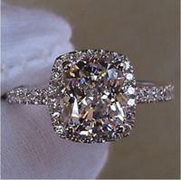 achat en gros de zircone anneau blanc-Size5 / 6/7/8/9/10 Victoria Weick bijoux en argent sterling 925 rempli de saphir blanc Gem Zirconia or femmes de mariage de fiançailles cadeau anneau de bande