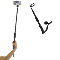 Wholesale Dual Use Extendable Aluminum Hiking Trekking Pole Stick Selfie Monopod With Monopod Head for Phone Holder