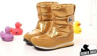 Revisiones Botas para la nieve pato mujeres-Mujeres Botas Invierno 2014 Pato De Goma De La Marca De La Nieve Brillante Botas De Patente,Señoras Zapatos De Invierno Impermeable Botas De Oro