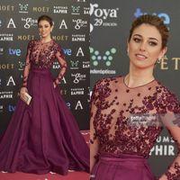 Wholesale Goya Cinema Awards Sexy Sheer Long Sleeves Beaded Appliqued Long Formal Evening Prom Celebrity Dresses Zuhair Murad Dresses