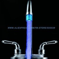 Cheap Hotsale Basin faucet water glow tiny LED faucet blue light waterflow electricity+22MM thread adaptor 2pcs lot freeshipping order<$18no track