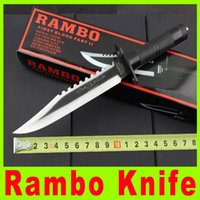 stainless steel hunting knife - 2015 New quot Rambo II signature edition hunting knife Cr13Mov blade Stainless steel handle Hunting Fighting Knives X
