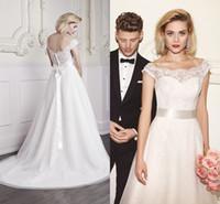 beach destination weddings - 2016 Spring Simple Off Shoulder A line Lace Destination Wedding Dresses Sashes Covered Button Back Wedding Gowns Vestidos De Novia