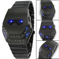 Wholesale Fashion Luxury Watches Iron Man Cobra Snake Head Wrist watches Black with Blue Light LED Mens Stainless Steel digital watch for Men