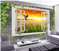Wholesale Papel de parede green leaf D backdrop non woven wallpaper new large murals costomize size Free fast shipping y