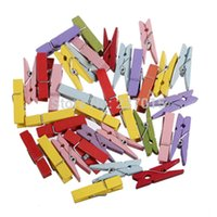 Wholesale New mm Wooden Multicolor Mini Pegs Spring Clamp Style Hook Clothespin Craft