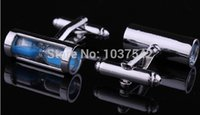 Wholesale Blue Hourglass Silver Mens Wedding Party Gift Shirt Cuff Links Cufflinks IA860 Y