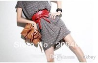 Wholesale Ppcs Lady bowknot waist belt bind wide belt black brown red Dropshipping Fas Delivery