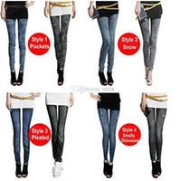 women jeans wear - spring autumn wearing fashion faux Denim Jeans leggings women girl Sexy Jeggings Tights leggings Skinny Pants Jeans Legging bottoms