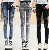 Wholesale 2015 Fashion Women Personality Zipper Jeans Spring Autumn New Slim Big Pocket Design Long Pencil Pants Tight Denim Trousers A549