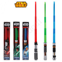 Wholesale DHL Free SHIP Star Wars Starwars Lightsaber Light saber With sound and Light Weapons Cosplay Laser Sword kids attachable Extendable Led toys