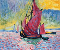 andre derain paintings - Abstract oil painting for room The Red Sails hand painted on linen Andre Derain painting