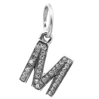 Wholesale Letter M Dangle with Clear CZ Sterling Silver Beads Fit Pandora Charms Bracelet Authentic DIY Fashion Jewelry