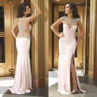 sequin elastic - Light Pink Elastic Satin Prom Dresses Crew with Applique Sequins Sheath Split Side Dresses Party Evening