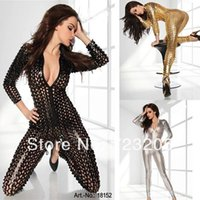 sexy clothes - Black Sliver Gold Colors New Arrival Sexy Fashion Twirled Jumpsuit Clothing DS Costume Jazz Cosplay Women PVC Catsuit Latex