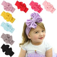Headbands Cotton fabric bow 9 Color New Fashion Baby big bowknot Headbands Girls Cute Bow Hair Band Infant Lovely bowknot Head wrap Children Bowknot Elastic Accessories