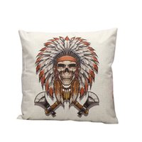 Cheap Wholesale-1 x Cute Skull Square New Linen Blend Pillow Case Throw Body Pillow Cushion Cover Sofa Bed Car Home Office Decor