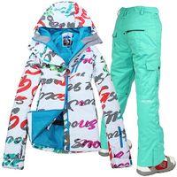 Wholesale Snowboard jacket women ski jacket pants suits winter outdoor waterproof windrpoof skiing set