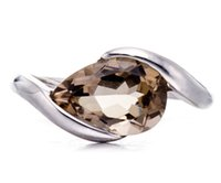 Wholesale 2 CT Smoky Quartz Solid Sterling Silver Solitaire Ring For Women Fine Jewelry