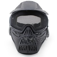 El nuevo venir de la máscara de Airsoft Tactical Paintball Guardia Caza Cara Proteger completa malla máscara material ABS Gafas