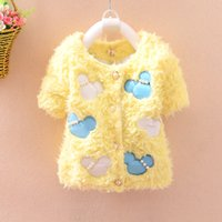 best fitting shorts - Children Wollen Coat For Winter Best Quantity Mickey Printed Girls Round Neck Outwear Kids Beaded Clothing Fit Age SS373