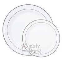 Wholesale quot White Silver Rim Plastic Dinner Plate Round Plate Dinnerware Party Plate Count Box Festival Wedding
