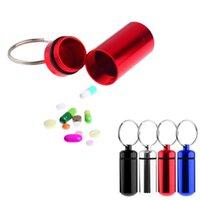 aluminium capsule - pc Micro Aluminium Pill Medicine Box Holder Container Capsule Bottle Keychain Pill Container de armazenamento