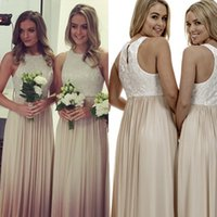Cheap Crew Neckline Long Bridesmaids Dresses 2015 Lace Bodice Floor Length Maid of honor dress Cheap Wedding Party Dresses